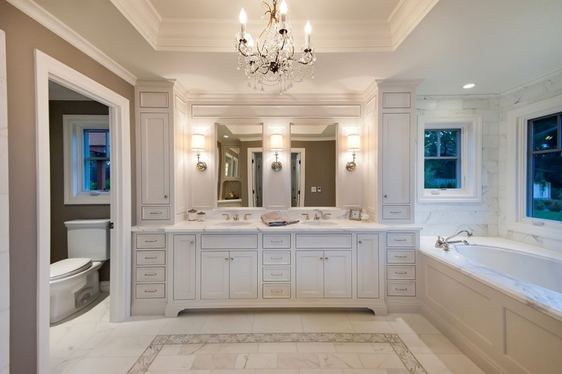 Restoration Hardware Nyc for Traditional Bathroom with Marble Floor
