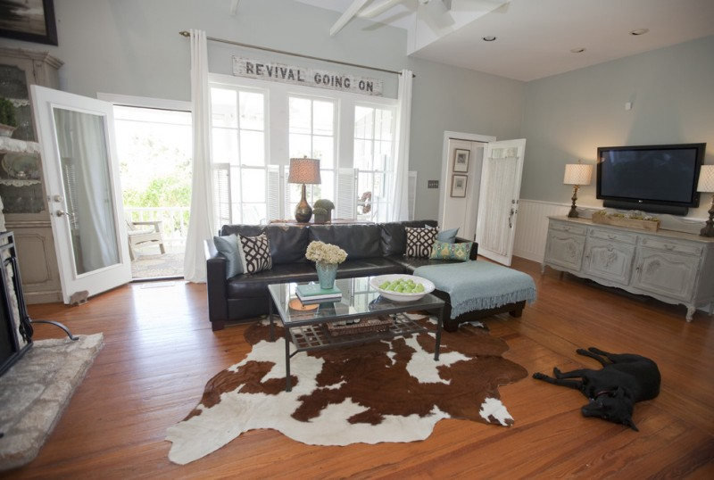 Restorations Hardware for Farmhouse Living Room with Drapes
