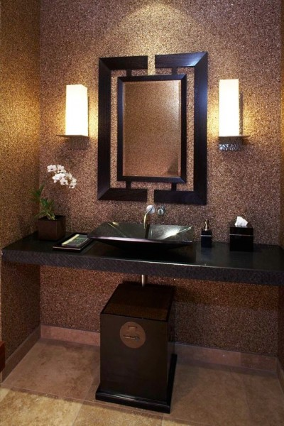 Reuse Hawaii for Tropical Powder Room with Stone Vessel