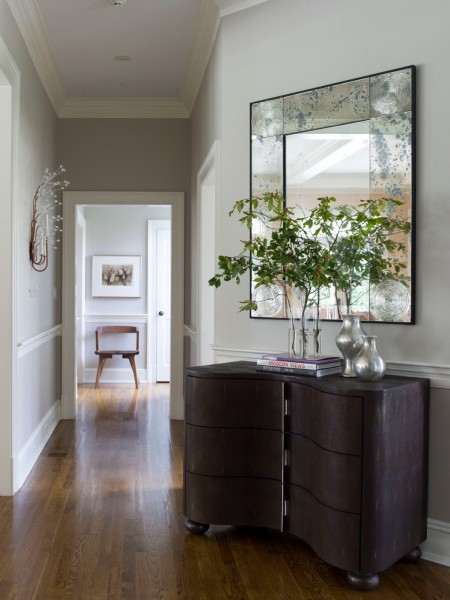 Revere Pewter Paint for Contemporary Hall with Preston Hollow