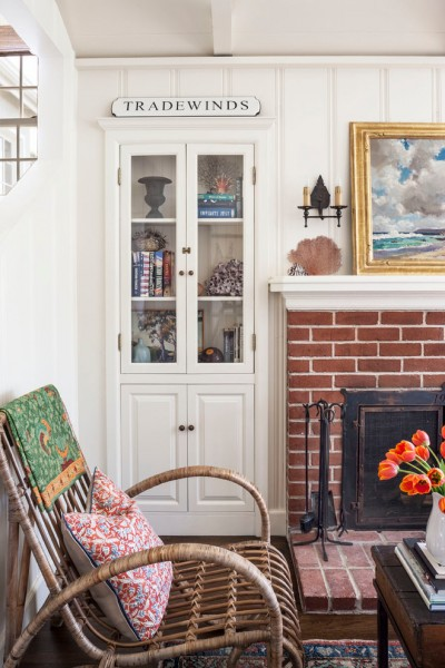 Rewiring a House for Beach Style Living Room with Brick Fireplace Surround
