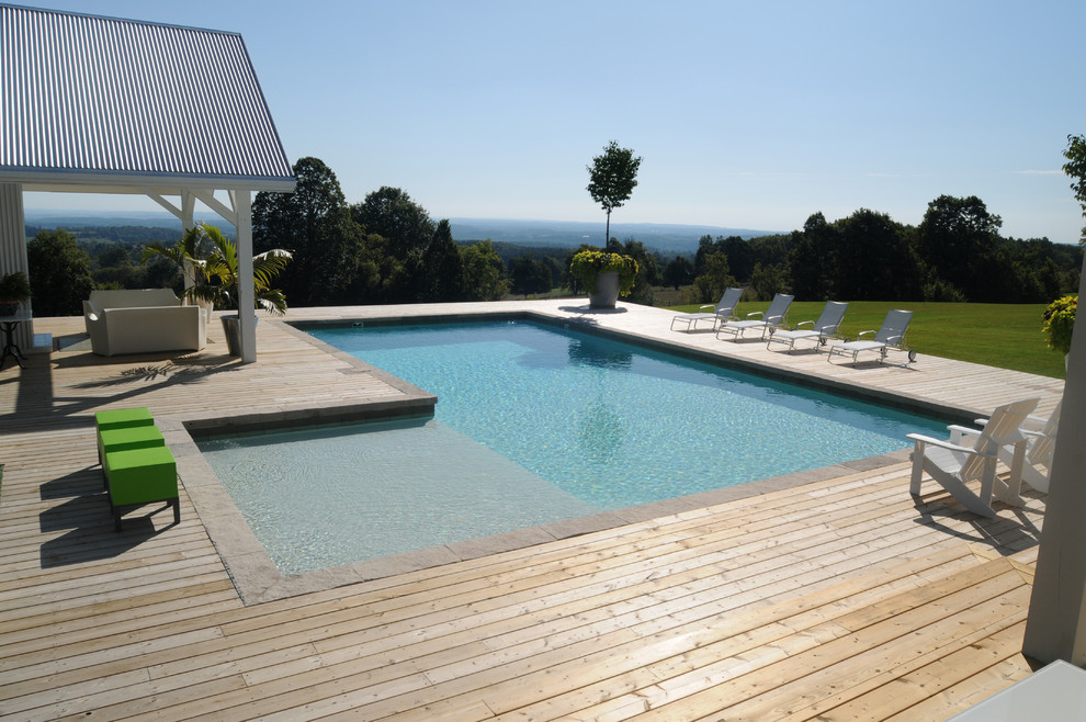 Rising Sun Pools for Modern Pool with Wood Pool Deck