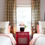 Robert Allen Fabrics for Eclectic Bedroom with Drapes
