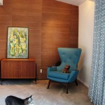 Robert Allen Fabrics for Midcentury Bedroom with Chair