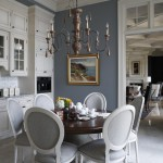 Robert Allen Fabrics for Traditional Dining Room with Gray Wall