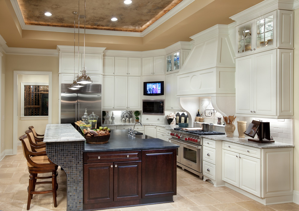 Romanelli and Hughes for Mediterranean Kitchen with Tray Lighting