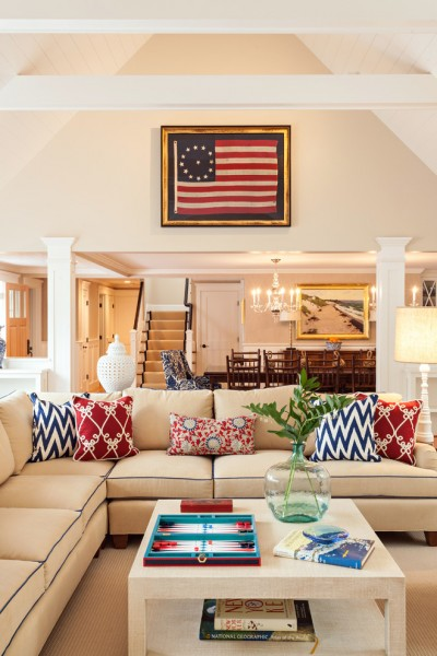 Romo Fabrics for Beach Style Living Room with Red White and Blue