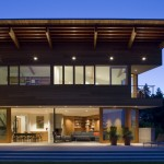 Roof Overhang for Contemporary Exterior with Sliding Doors