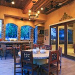 Roof Overhang for Rustic Patio with Beige Stucco Wall