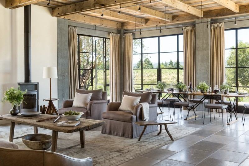 Rose Tarlow for Farmhouse Living Room with Glass Doors
