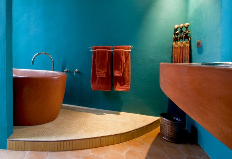 Russet Color for Southwestern Bathroom with Bold Colors