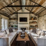 Rustic Living Room Ideas for Farmhouse Living Room with Rustic Stone Wall