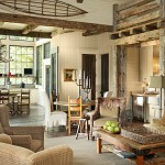 Rustic Living Room Ideas for Rustic Living Room with Tweed Armchairs