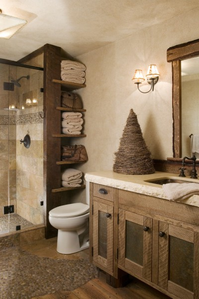 Sacramento River Train for Rustic Bathroom with Reclaimed Wood
