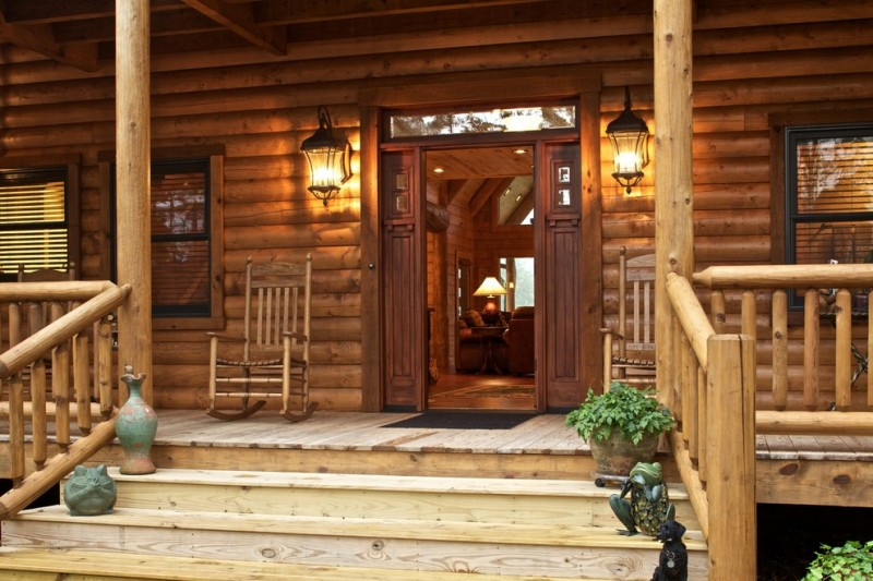 Satterwhite Log Homes for Rustic Entry with Front Door