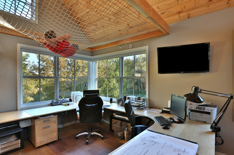 Shaddock Homes for Transitional Home Office with Wood Floor