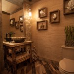 Shell Lumber for Rustic Powder Room with Grass Cloth