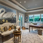 Sherwin Williams Amazing Gray for Mediterranean Home Office with Large Artwork