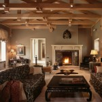 Sherwin Williams Amazing Gray for Traditional Living Room with Exposed Beams