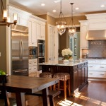 Sherwin Williams Cabinet Paint for Traditional Kitchen with Wood Bar Stool