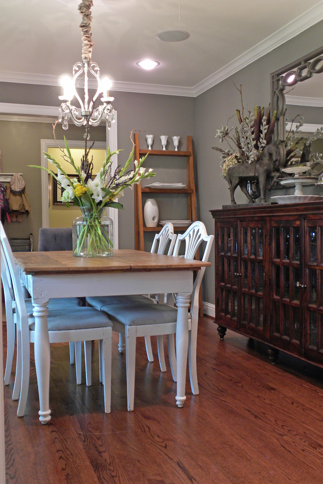 Sherwin Williams Dorian Gray for Traditional Dining Room with Crystal