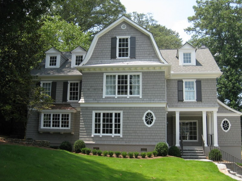 Sherwin Williams Dorian Gray for Traditional Exterior with Window Shutters