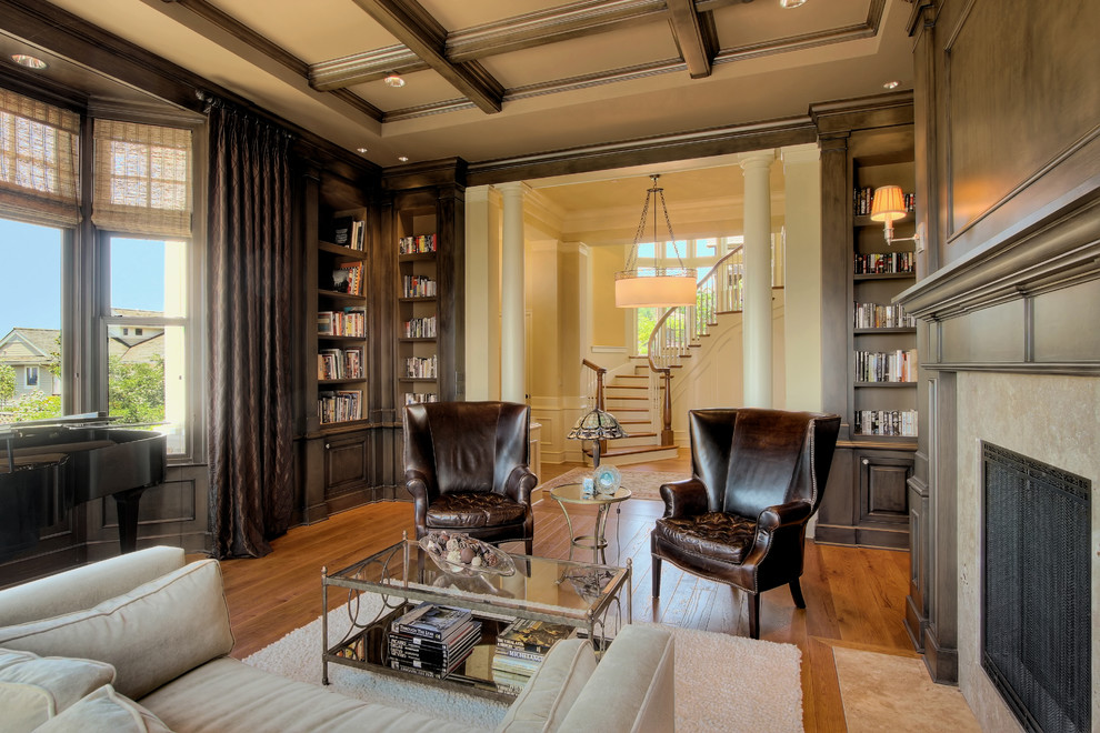 Sherwin Williams Latte for Traditional Living Room with Fireplace
