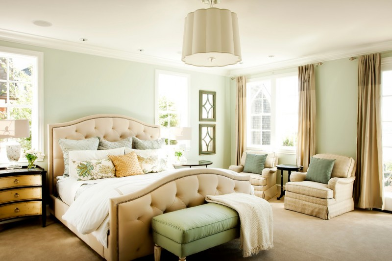 Sherwin Williams Sea Salt for Traditional Bedroom with Beige Drapes