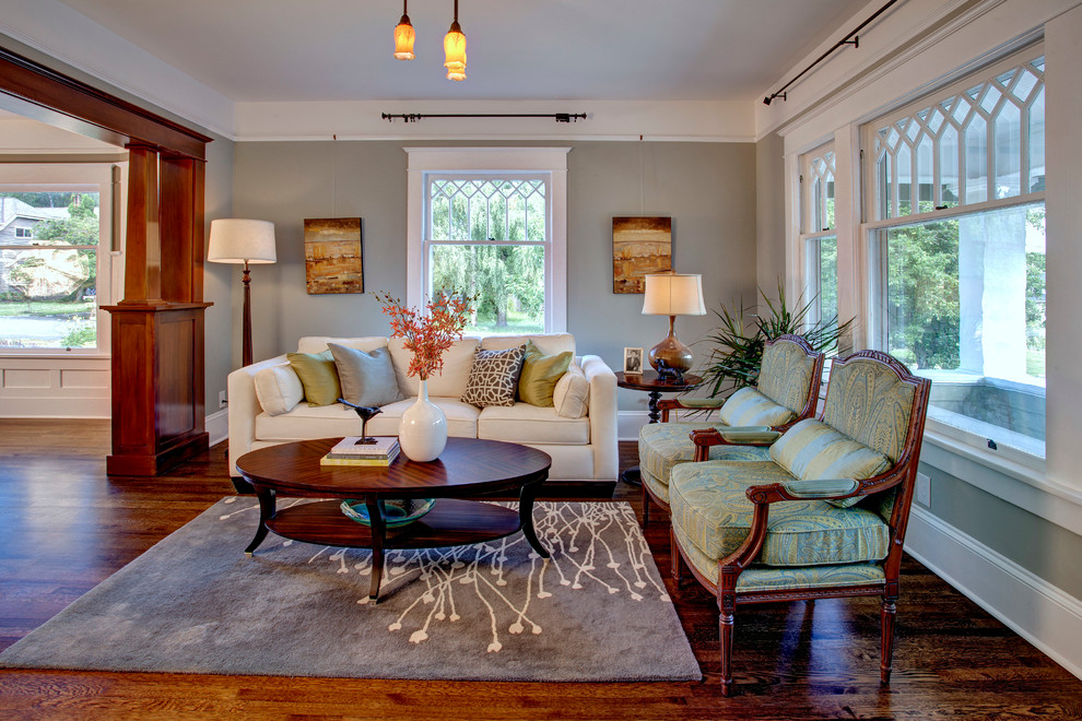 Sherwin Williams Seattle for Craftsman Living Room with Antique Lighting