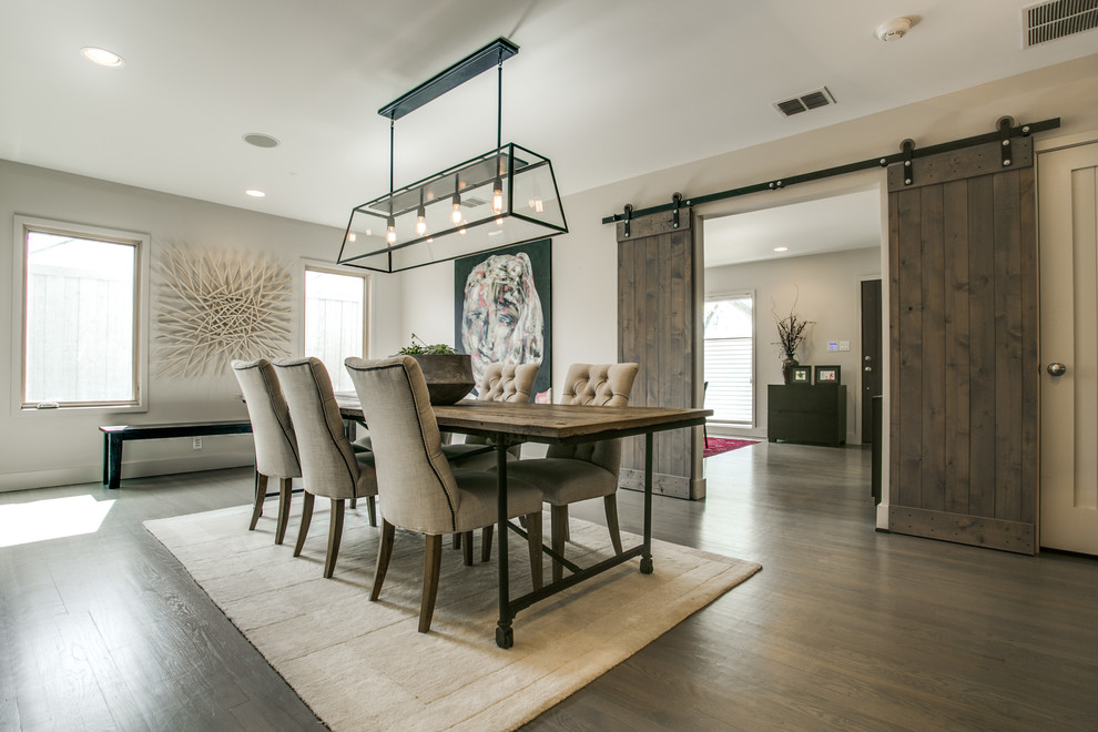 Sherwin Williams Seattle for Farmhouse Dining Room with Sliding Barn Doors