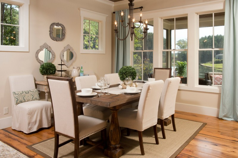 Sherwin Williams Softer Tan for Rustic Dining Room with Centerpiece
