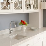 Silestone Lagoon for Contemporary Kitchen with Glass Cabinets