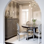 Silver Legacy Buffet for Transitional Dining Room with Wallpaper