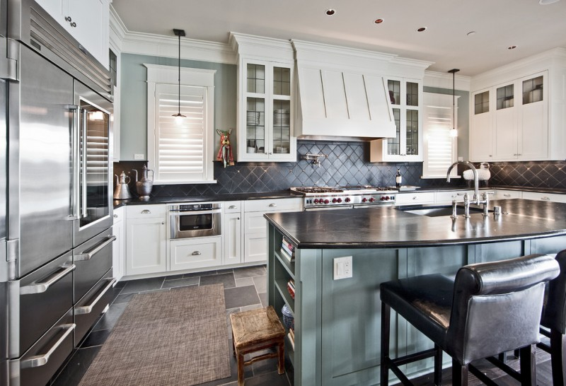 Skyward Mercer Island for Transitional Kitchen with White Plantation Shutters
