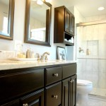Small Master Bathroom Ideas for Transitional Bathroom with White Walls