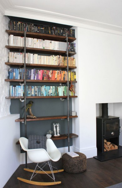 Spenard Builders Supply for Contemporary Living Room with Loft Style Wood and Steel Shelves