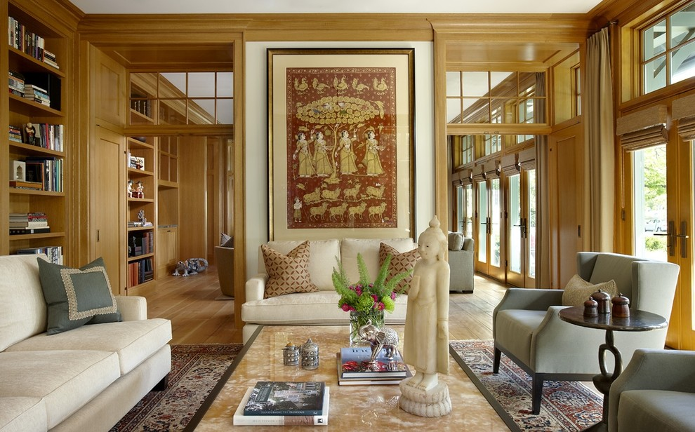 Spring Cleaning Checklist for Eclectic Living Room with French Doors