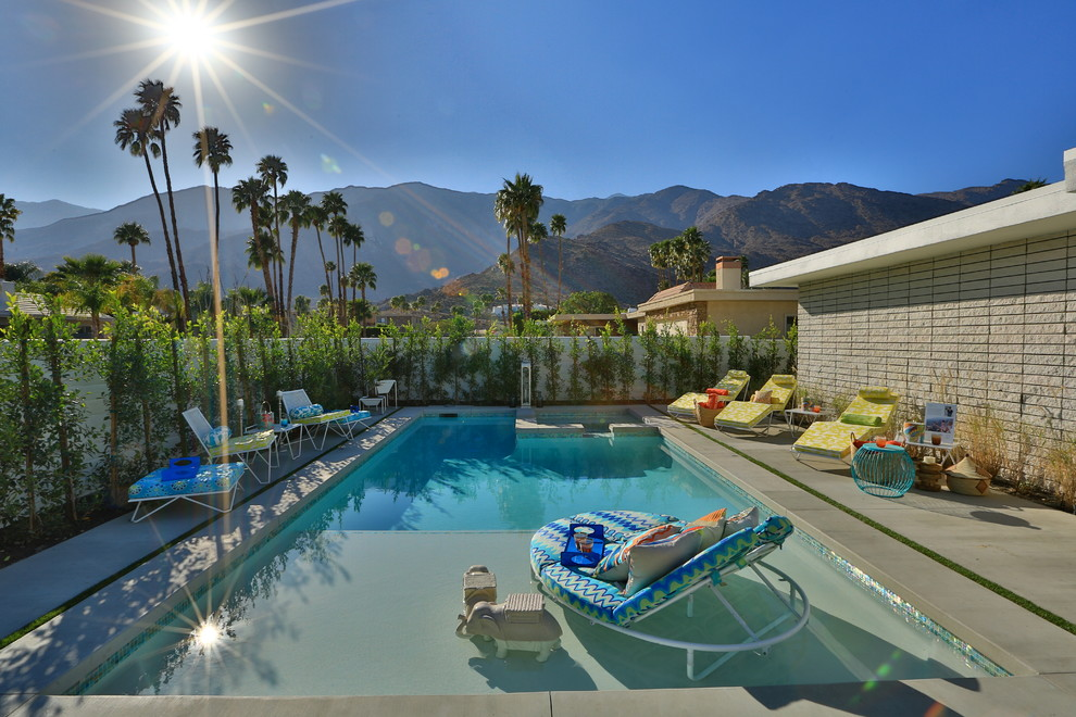 Spring Cleaning Checklist for Midcentury Pool with Brass Front Doors