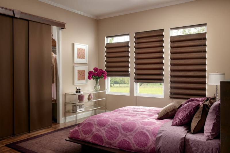 Springs Window Fashions for Contemporary Bedroom with Wood Blinds