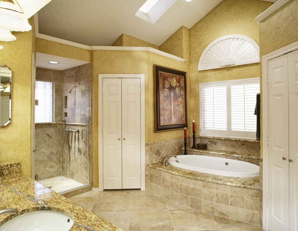 Squishy Closet for Traditional Bathroom with Sloped Ceiling