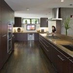 Stained Concrete Countertops for Contemporary Kitchen with Breakfast Bar