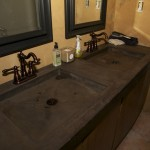 Stained Concrete Countertops for Mediterranean Bathroom with Mediterranean