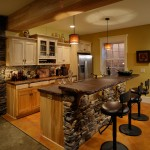 Stained Concrete Countertops for Rustic Kitchen with Baseboards
