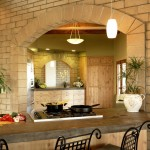 Stained Concrete Countertops for Rustic Kitchen with Pendant Lighting