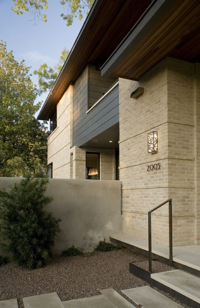 Staining Brick for Contemporary Exterior with Wall Lighting