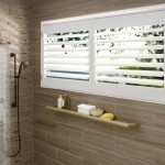 Stainless Steel vs Nonstick for Transitional Bathroom with Poly Satin Shutters