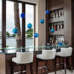 Standard Bar Stool Height for Contemporary Home Bar with Blue Pendant Lights