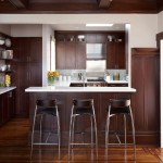 Standard Bar Stool Height for Contemporary Kitchen with Coffered Ceiling