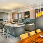 Standard Bar Stool Height for Contemporary Kitchen with Track Lighting