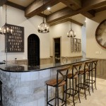 Standard Bar Stool Height for Rustic Home Bar with Wood Beams in Wet Bar